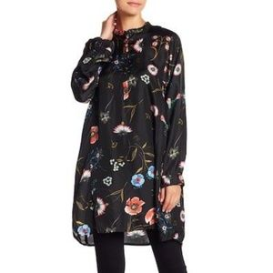 Johnny Was Meco Tunic Black Floral Relaxed XL